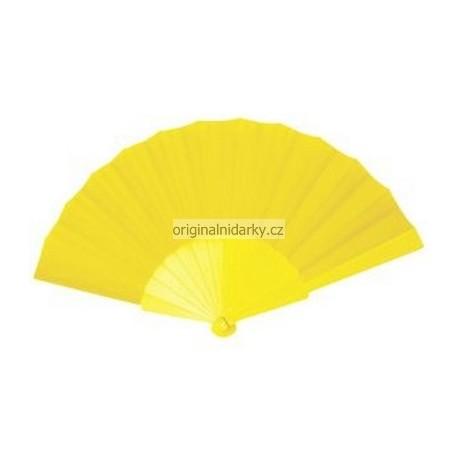 Vějíř skladací látkový - žlutý